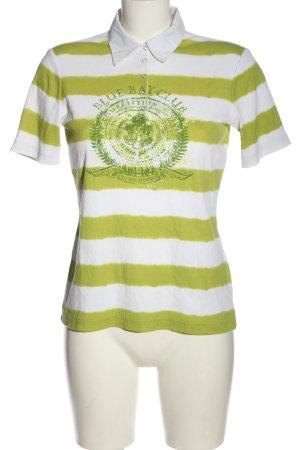 Gerry Weber Polo-Shirt grün-weiß Schriftzug gedruckt Casual-Look