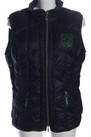 Gerry Weber Gewatteerd vest zwart-groen quilten patroon atletische stijl