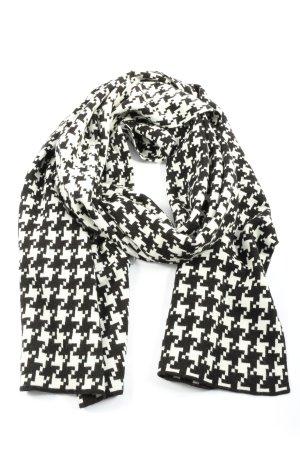 Gerry Weber Écharpe en tricot noir-blanc imprimé allover style décontracté