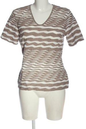 Gerry Weber V-Ausschnitt-Shirt braun-weiß Streifenmuster Casual-Look