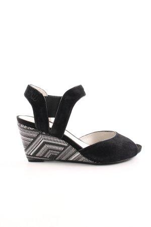 Gerry Weber Wedges Sandaletten schwarz-weiß abstraktes Muster Casual-Look