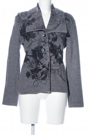 Gerry Weber Chaqueta de lana gris claro-negro estampado floral look casual