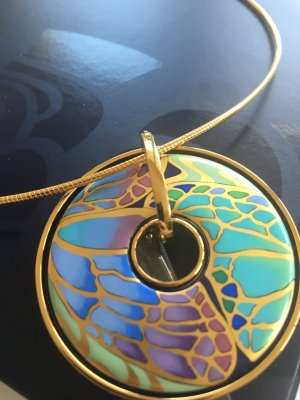 Necklace multicolored real gold