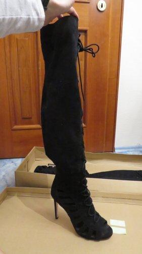 geschnürte Overknees HighHeels mit seitlichem Zipp