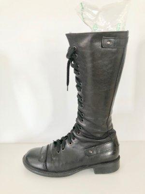 Vic Matie Combat Boots black leather