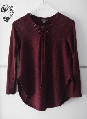 Geschnürtes Langarmshirt Pullover Dunkelrot Gr. 38