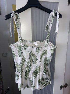 H&M Top z baskinką biały-jasnozielony
