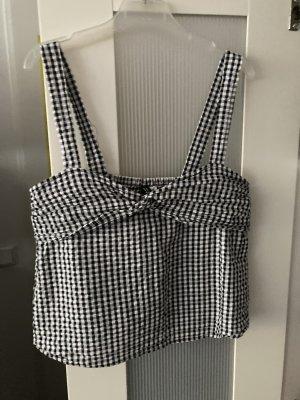 H&M Top gorsetowy czarny-biały