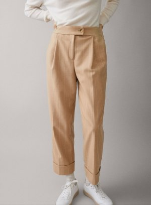 Massimo Dutti Woolen Trousers white-sand brown
