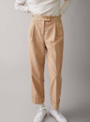 Massimo Dutti Pantalon en laine blanc-brun sable
