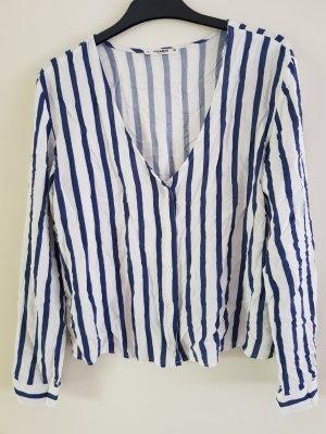 Bershka Bluzka z długim rękawem biały-niebieski