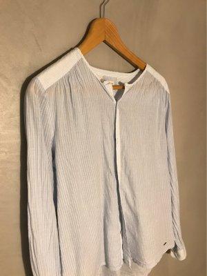 Pepe Jeans Blusa con collo alla coreana bianco-azzurro