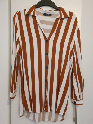 Bershka Long Blouse white-brown