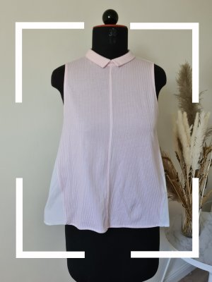 Gestreifte Bluse mit Kragen, weiß rosa, Gr. S