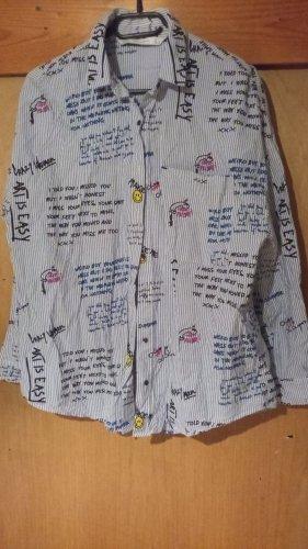 gestreifte Bluse mit Print von Zara