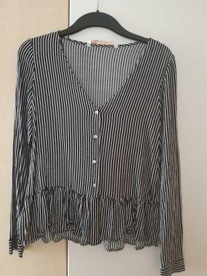 Zara Camicetta con arricciature bianco-nero