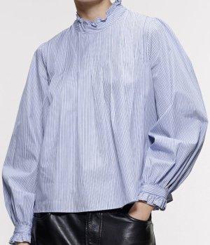 Zara Empiècement de blouses blanc-bleu azur