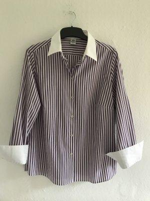 Gestreifte Bluse mit weißem  Kragen und Manschetten von Walbusch, Gr.40