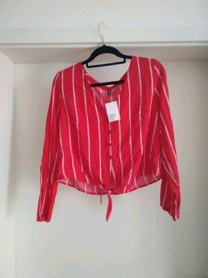 Gestreifte Cropped Bluse von H&M