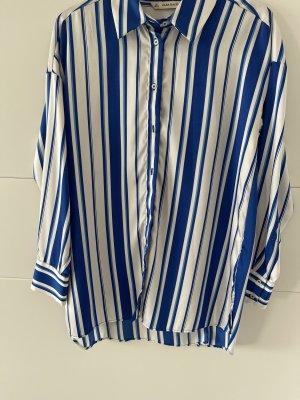 Gestreifte Hemdbluse weiß / blau aus Zara
