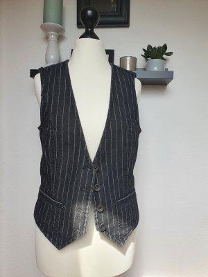 Esprit Jeansowa kamizelka biały-czarny