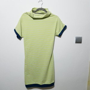 Robe en jersey blanc-vert fluo coton