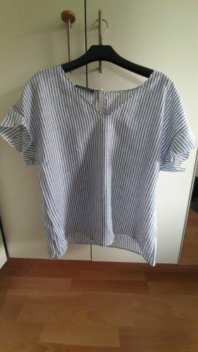 Violeta by Mango Lniana bluzka ciemnoniebieski-biały Len