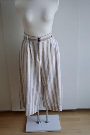 H&M Lniane spodnie beżowy-biały