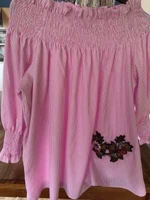 Amuse Society Carmen blouse wit-roze