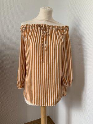 Hennes & Mauritz Carmen Blouse gold orange-white polyester