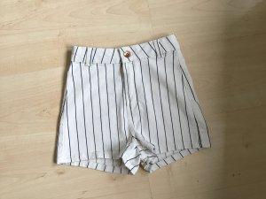 Bershka Short taille haute blanc-noir coton