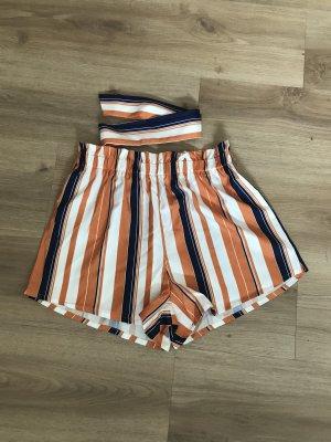 SheIn Short orange-blanc