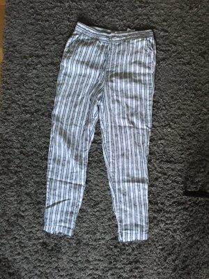 H&M Pantalon en lin blanc-bleu