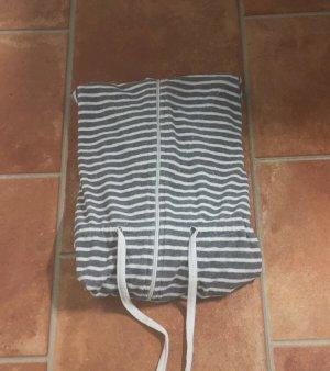 Gestreifter Bademantel mit Kapuze,Reißverschluss und Taschen