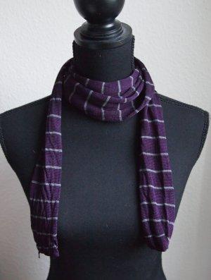 Gestreifter dünner Schal lila / grau