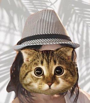 Pimkie Chapeau en feutre noir-blanc coton