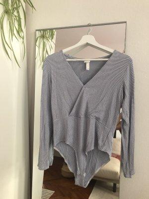 H&M Basic Shirtbody wit-korenblauw