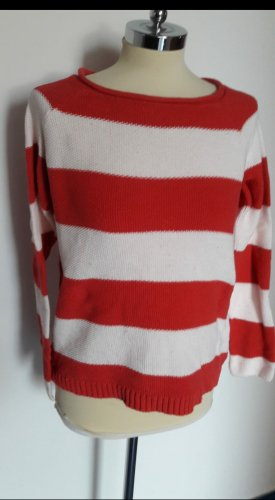 b.c. Coarse Knitted Sweater white-red