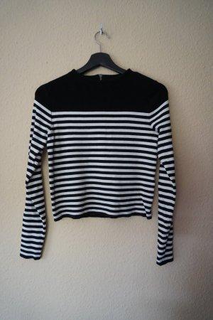 gestreifter Pullover in schwarz/weiß
