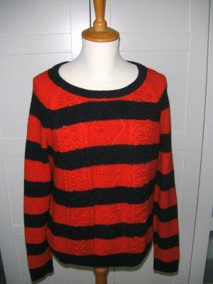 gestreifter Pullover, Pulli, Streifenpullover, rot, dunkelblau, Esprit, Gr. XL