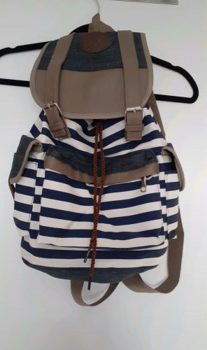 Trekking Backpack oatmeal-dark blue cotton