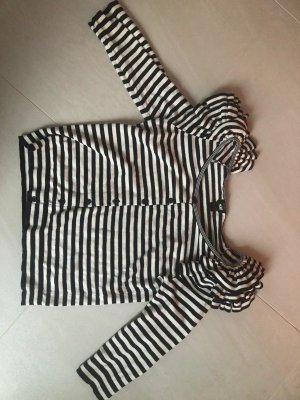 H&M Długi sweter czarny-jasnobeżowy Bawełna