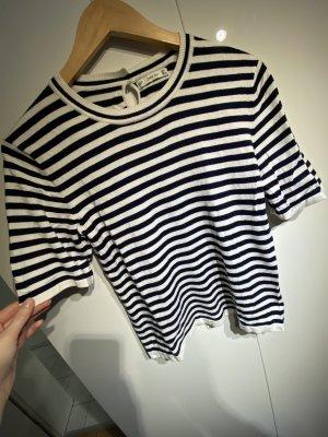 Zara Knit Short Sleeve Sweater white-dark blue