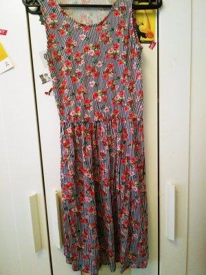 gestreiftes blümchen (Kinder)Kleid Gr.164/Xs/S