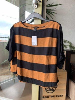 H&M Bluzka z krótkim rękawem ciemny pomarańcz-czarny