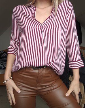 Bershka Long Sleeve Shirt red-white viscose