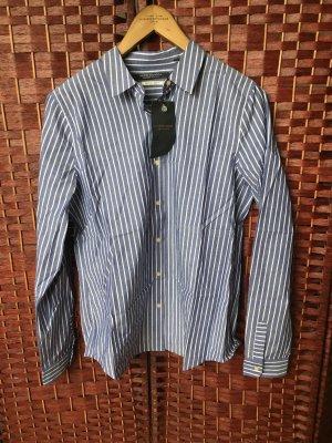Gestreiftes Hemd Bluse Jeansblau Weiß Scotch & Soda Maison Scotch Größe P/XS