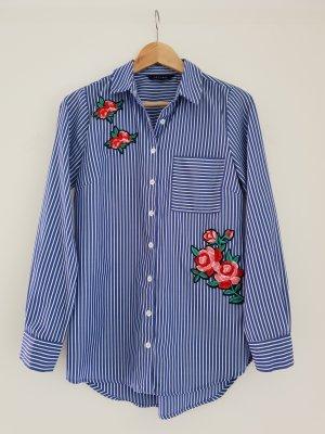 Gestreiftes Hemd mit Blumen Patches von New Look Gr. 36