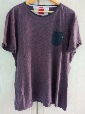 s.Oliver T-Shirt dark blue-dark red cotton