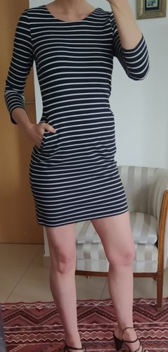 Opus Sukienka dresowa biały-ciemnoniebieski